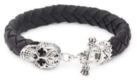 King Baby Studio Sterling Silver & Leather Braided Skull Bracelet