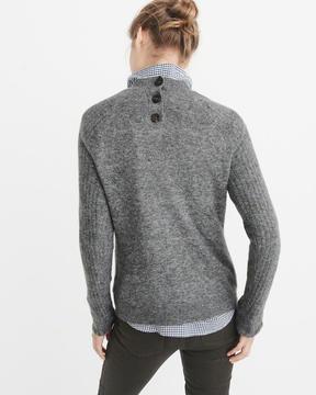 Abercrombie & Fitch Ruffle Sleeve Mock Neck Sweater