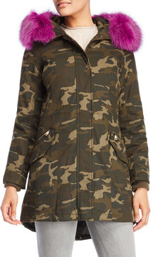 1 Madison Real Fur Trim Hooded Camouflage Coat
