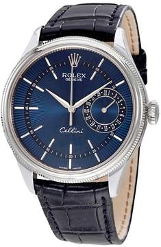 Rolex Cellini Blue Guilloche Dial Automatic Men's Leather Watch