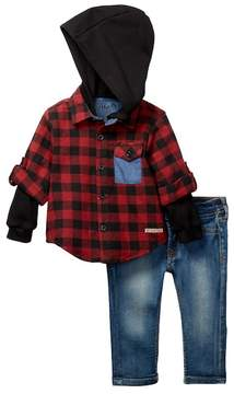 Hudson Woven Flannel Thermal Hoodie & Jeans 2-Piece Set (Baby Boys)