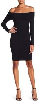 David Lerner Long Sleeve Off-The-Shoulder Midi Dress