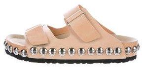 Giambattista Valli Leather Studded Slide Sandals