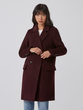 Frank and Oak Double-Breasted Cocoon Coat in Deep Plum