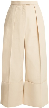 DELPOZO High-rise wide-leg turn-up cotton cullottes