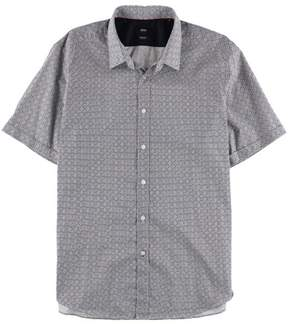 HUGO BOSS Mens Geometric Button Up Shirt Black XL