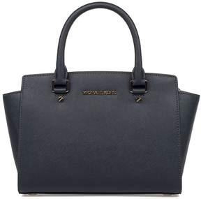 Michael Kors Blue Medium Selma Satchel Saffiano Leather Top Handle Bag - BLUE - STYLE