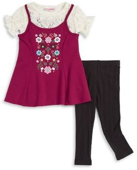 Flapdoodles Little Girl's Floral Top and Leggings Set