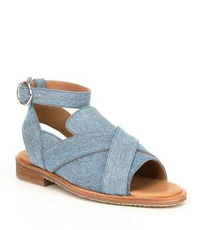 Free People Denim Catherine Ankle Strap Loafer Sandals