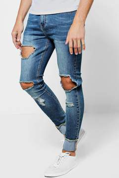boohoo Spray On Skinny Ripped Knee Jeans