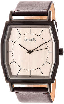 Simplify Black & Pewter The 5400 Leather-Strap Watch