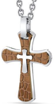 Ice Men's Copper Stainless Steel Cobblestone Cross Pendant Necklace