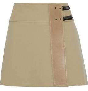 Belstaff Leather-Paneled Ponte Wrap Mini Skirt