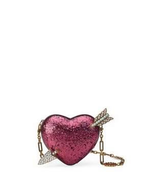 Gucci Broadway Glitter Resin Heart Minaudiere Clutch Bag - PINK METALLIC - STYLE