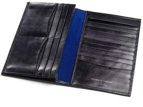 Aspinal of London Large Breast Pocket Wallet In Smooth Black Cobalt Suede