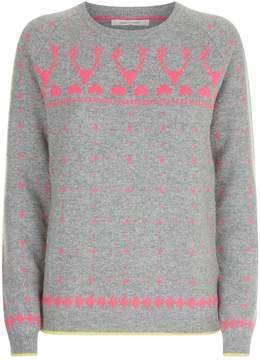 Chinti and Parker Reindeer Fair Isle Print Lurex Sweater