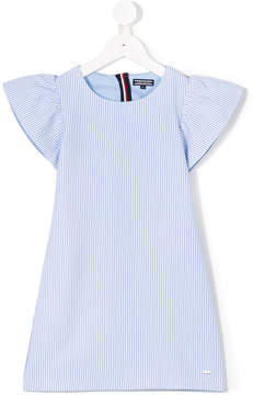 Tommy Hilfiger Junior striped frill sleeve dress