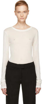 Ann Demeulemeester Ivory Long Sleeve Ribbed T-Shirt