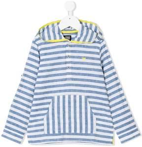 Emporio Armani Kids striped hooded shirt
