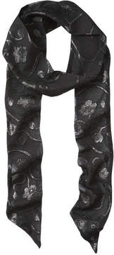 Joe Fresh Women's Metallic Jacquard Skinny Scarf, JF Black (Size O/S)