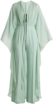 Elie Saab Cape-sleeve stretch-crepe cady jumpsuit