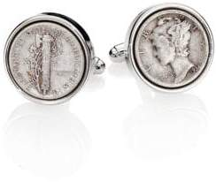David Donahue Sterling Silver Dime Cuff Links