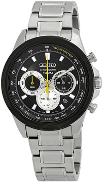 Seiko Kinetic Chronograph Black Dial Men's Watch