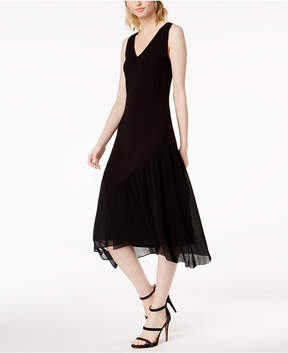 Bar III Sleeveless Pleated-Contrast Midi Dress, Created for Macy's