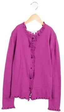 Rachel Riley Girls' Ruffle-Trimmed Knit Cardigan