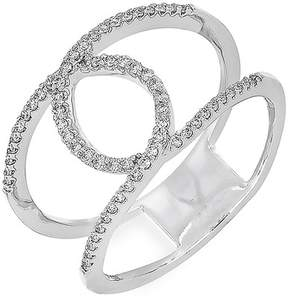 Bony Levy 18K White Gold Pave Diamond Loop Double Band Ring - 0.21 ctw