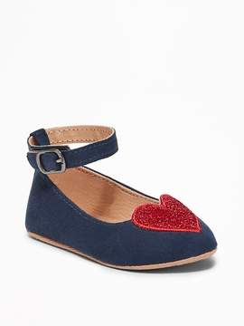 Old Navy Sueded Glitter-Heart Flats for Baby