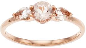 Lauren Conrad 10k Rose Gold Morganite 3-Stone Ring