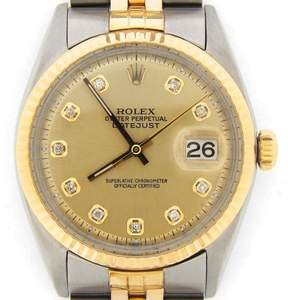 Rolex 2Tone 14K Gold/Stainless Steel Datejust w/Champagne Diamond Dial 1601 Watch