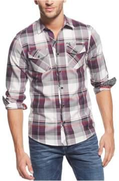 GUESS Mens Plaid Button Up Shirt Purple 2XL