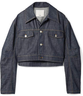 Tibi Cropped Denim Jacket - Dark denim