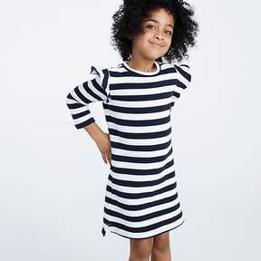 J.Crew Girls' striped ruffle-trimmed long-sleeve dress