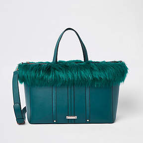 River Island Dark green faux fur trim winged tote bag