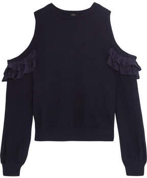 Clu Cold-shoulder Ruffled Silk-trimmed Cotton-jersey Sweatshirt - Storm blue