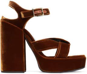Jil Sander Velvet Platform Sandals - Copper