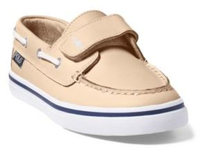 Ralph Lauren Batten Leather Ez Boat Shoe White/Navy 10.5