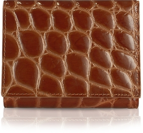 Giorgio Fedon 1919 Spiga - Women's Brown Croc Stamped Calfskin Small Wallet