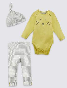 Marks and Spencer 3 Piece Bodysuit & Bottom with Hat Outfit