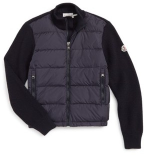 Moncler Boy's Quilted Down Sweater Jacket