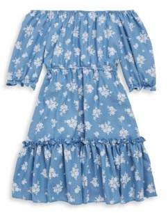 Un Deux Trois Girl's Chambray Floral Peasant Dress