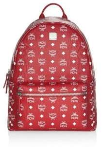 MCM Logo Coated Canvas Backpack