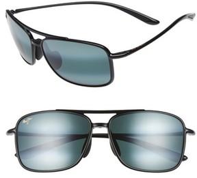 Maui Jim Men's Kaupo Gap 61Mm Polarizedplus2 Sunglasses - Gloss Black/ Neutral Grey
