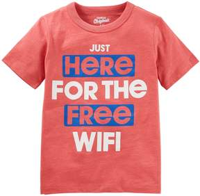Osh Kosh Oshkosh Bgosh Boys 4-8 Just Here For The Free Wi-Fi Graphic Tee