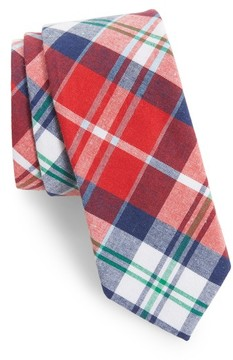 1901 Men's Ascot Plaid Cotton Skinny Tie