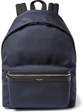 Saint Laurent City Leather-Trimmed Canvas Backpack