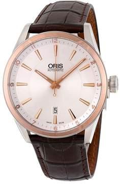 Oris Artix Date Automatic Silver Dial Brown Leather Men's Watch